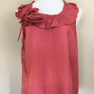 Silk J.Crew Coral Top with Rosette
